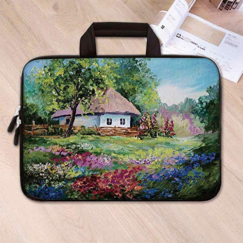Rustic Anti Seismic Neoprene Laptop Bag,Artistic Stone House and Small Garden with Wooden Fence Colorful Spring Flowers for Travel Office School,17.3''L x 13''W x 0.8''H