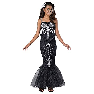 Girl's Skeleton Mermaid Costume: Clothing