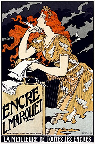 Posterazzi Poster Print Collection Nposter Advertising Marquet Ink. Lithograph by Eugene Grasset 1897, (18 x 24), Multicolored