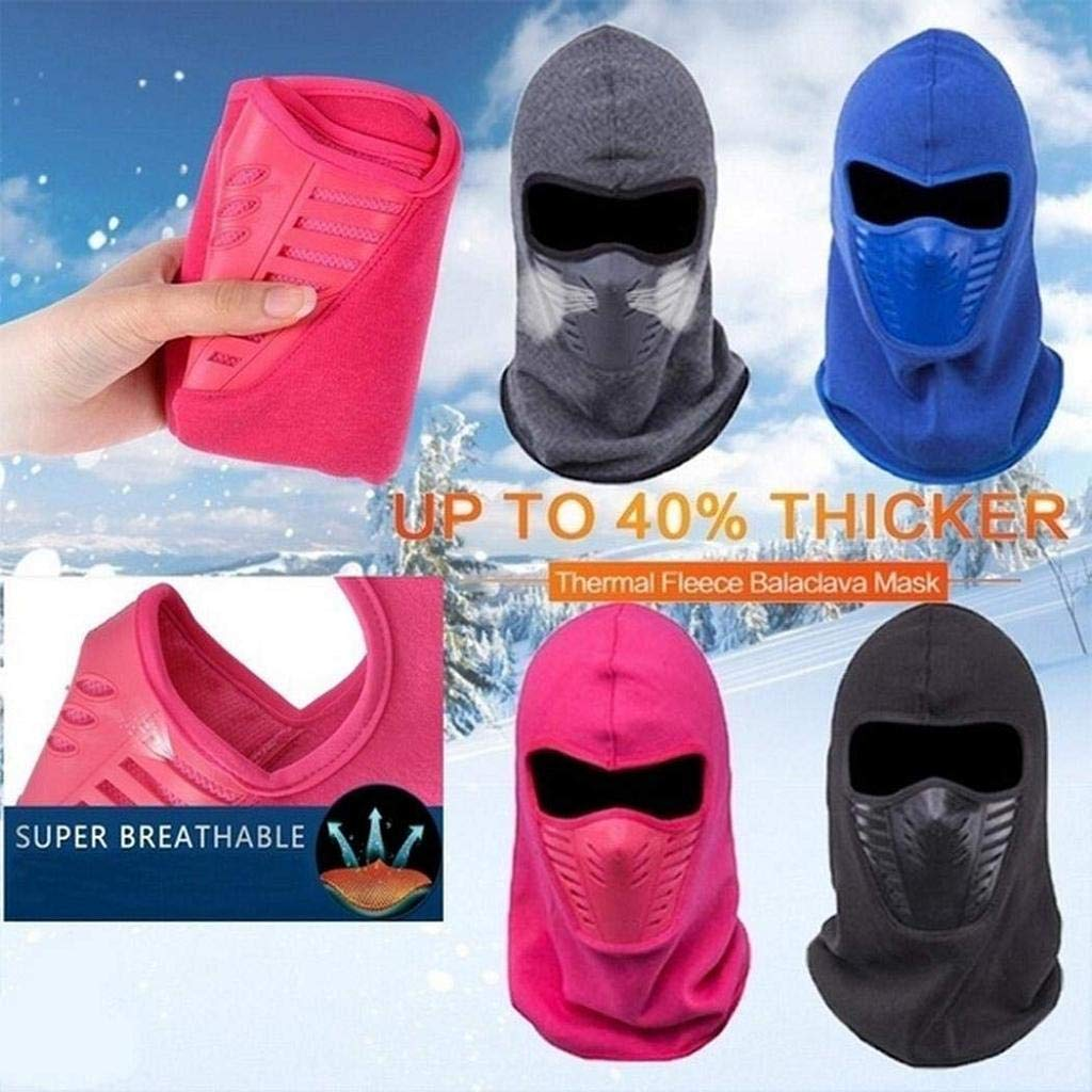 Whatyiu 1Pack Winter Cycling Mask Cap Ski Thermal Fleece Balaclava Hat Hooded Neck Bike Face Shield Mascara