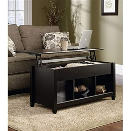 Amazon Com Black Wood Finish Lift Top Coffee Table With Bottom