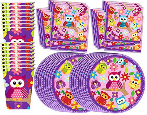 Patchwork Owl Birthday Party Supplies Set Plates Napkins Cups Tableware Kit for 16 by Birthday (Owl Birthday Party Supplies)