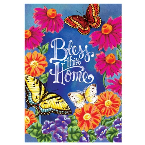 Bless This Home – Standard Size, Decorative Double Sided, Licensed and Copyrighted Flag – Printed IN USA by Custom Decor Inc. 28 Inch X 40 Inch approx. Review