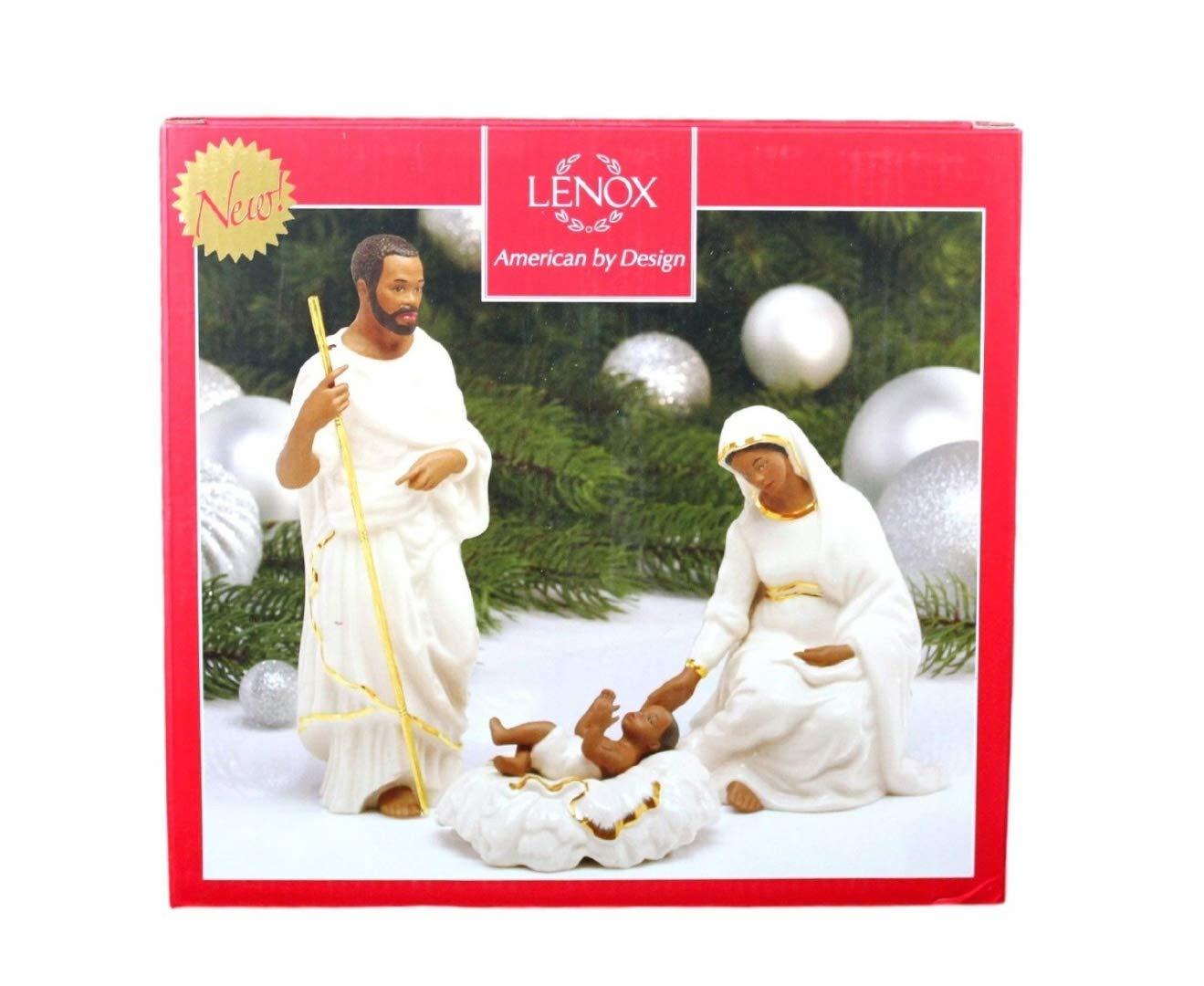 Lenox African American Oh Holy Night Nativity Family Figurines Joseph Mary Baby Jesus
