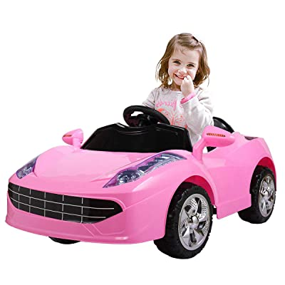 JAXPETY 6V Kids Ride On Car Battery Powered Electric Sports Car w/ MP3, LED Lights, Remote Control, Pink: Toys & Games
