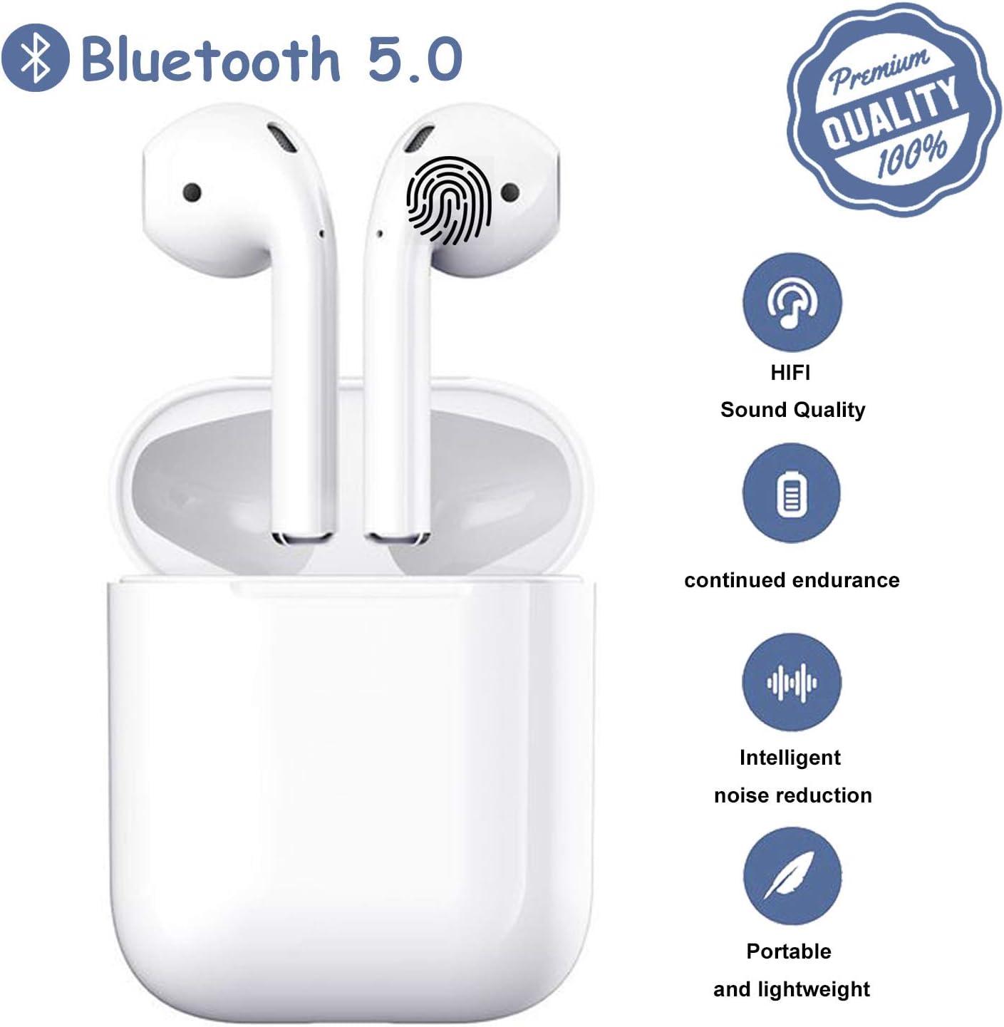 Auriculares inalámbricos Bluetooth 5.0,Estuche de Carga portátil, micrófono HD Incorporado y estéreo 3D,Resistente al Agua IPX5, Compatible con Airpods Android/iPhone/Huawei/Samsung