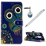 ZTE ZMax Pro/ZTE Z981 Case Wallet, KASOS Embossed Oil Colorful Painting Cute Owl Blue PU Leather TPU Inner Kickstand Card Holders Magnetic Flip Cover & Dust Plug & Stylus - Owl