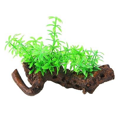 Dabixx Planta de plástico verde para acuario, pecera, decoración paisaje