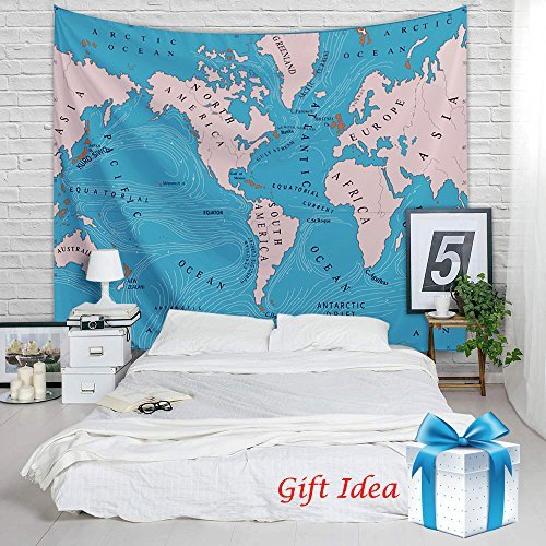 Ocean Current Tapestry - Educational World Map Wall Hanging College Dorm Room Decoration Multipurpose Cloth as Home Decor, Picnic Mat, Beach Towel, Backdrop, 80 by 60 inches