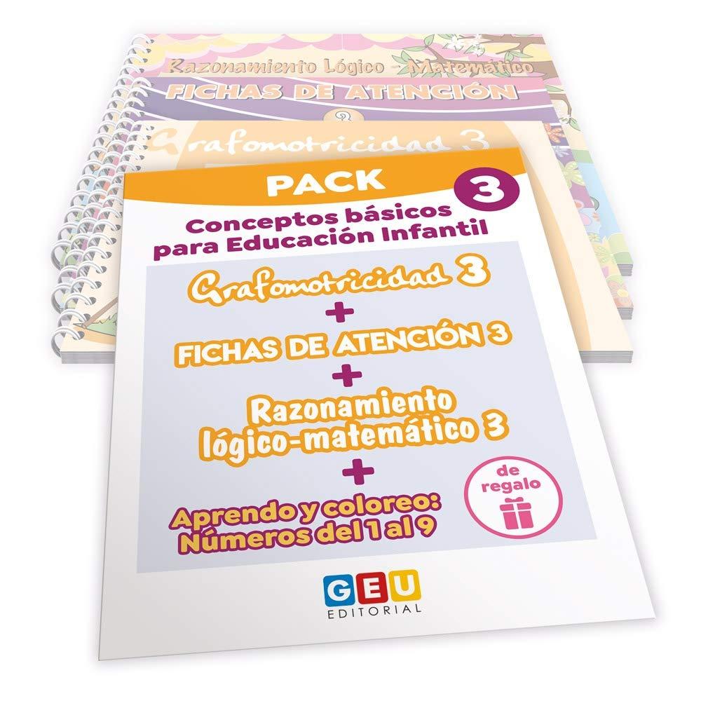 Pack Conceptos básicos Educación Infantil 3 | Editorial Geu | mejora la atención Grafomotricidad y preescritura | Desarrolla Razonamiento matemático Niños de 3 a 5 años: Amazon.es: Razonamiento Lógico - Matemático: Mª