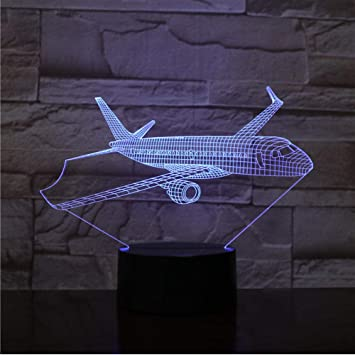Plane LED 3D Illusion Night Light USB Airplane Lamp Birthday Gift Aircraft for Boy Girl Kid Teenager Bedroom Nursery Decoration Room Decor Plane