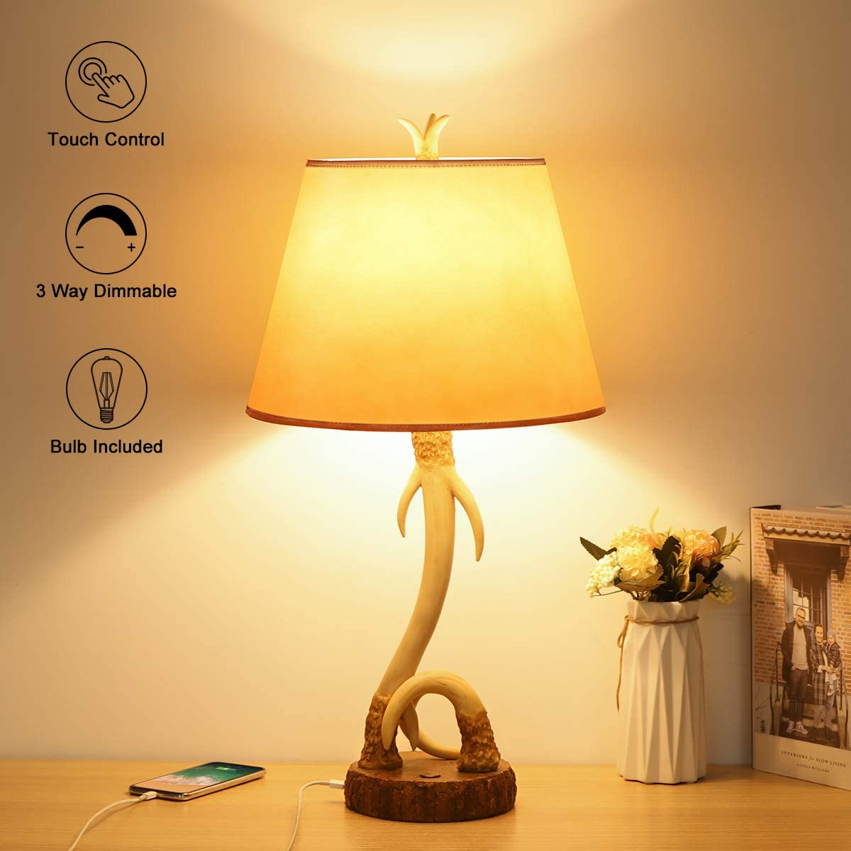 Boncoo Antler Rustic Table Lamp with USB Port, 3 Way ...