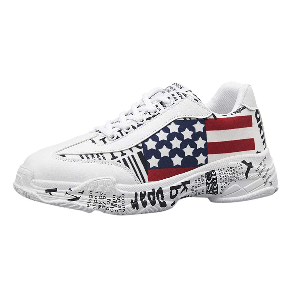iHAZA Flat Shoes Men's Fashion Breathable Graffiti Lace-up Sport Walking Running Shoes Sneakers Flat Shoes