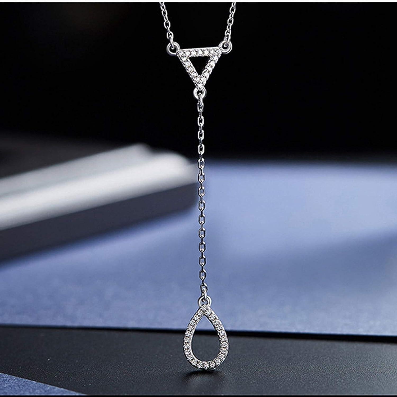 Aokarry Jewelry Women Sterling Silver Y Necklacestassels Teardrop Pendant Silver