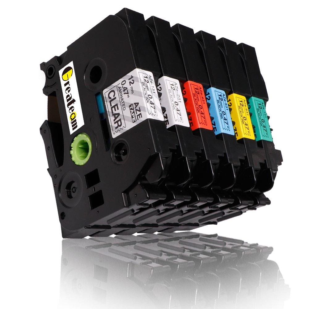 6 Pack Combo Set Compatible for Brother P-touch Label Tapes TZ131 TZ231 TZ431 TZ531 TZ631 TZ731 12mm x 8m, 1/2'' x 26.2ft