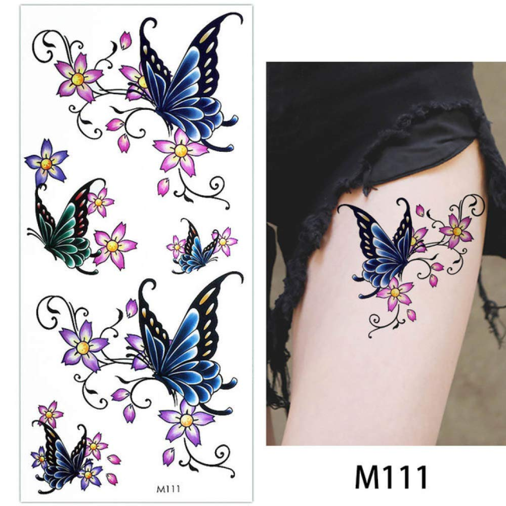 adgkitb 4 Piezas Hoja Rosa Flor Tatuaje Temporal Mariposa Pulsera ...