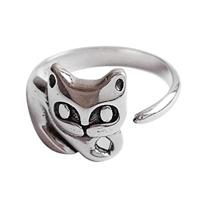 SHEIS LOVING Cat Rings Silver 925 For Women Girls Band Her With