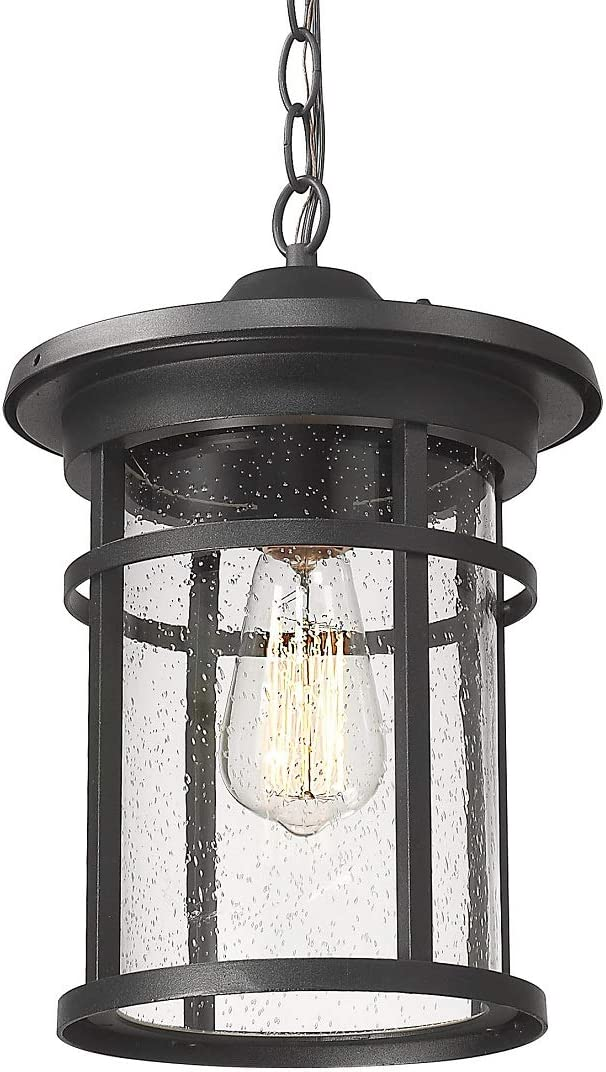 Outdoor Pendant Lighting, Bestshared 1-Light Outdoor Hanging Lantern Light Fixtures for Porch, Farmhouse Style Exterior Porch Lights with Seeded Glass