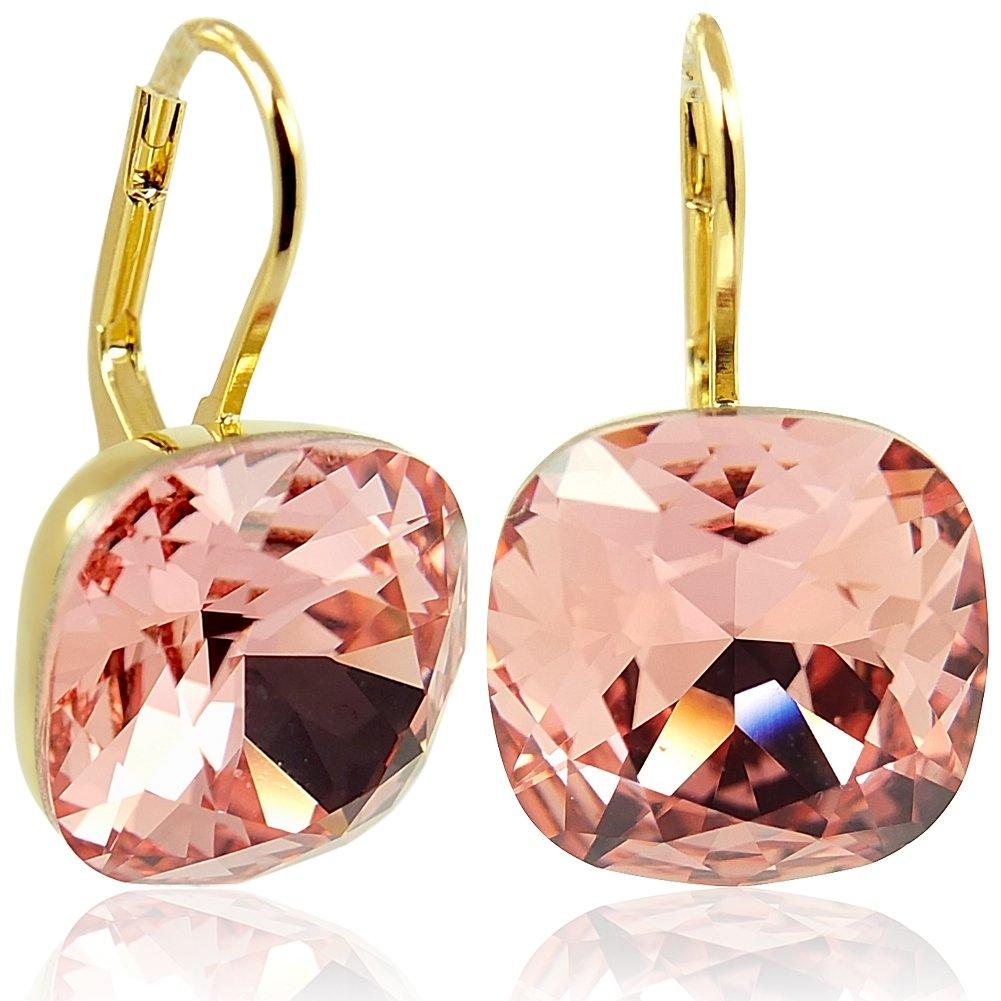 Ohrringe mit Kristalle von Swarovski Gold Viele Farben NOBEL SCHMUCK nobel-schmuck 3228