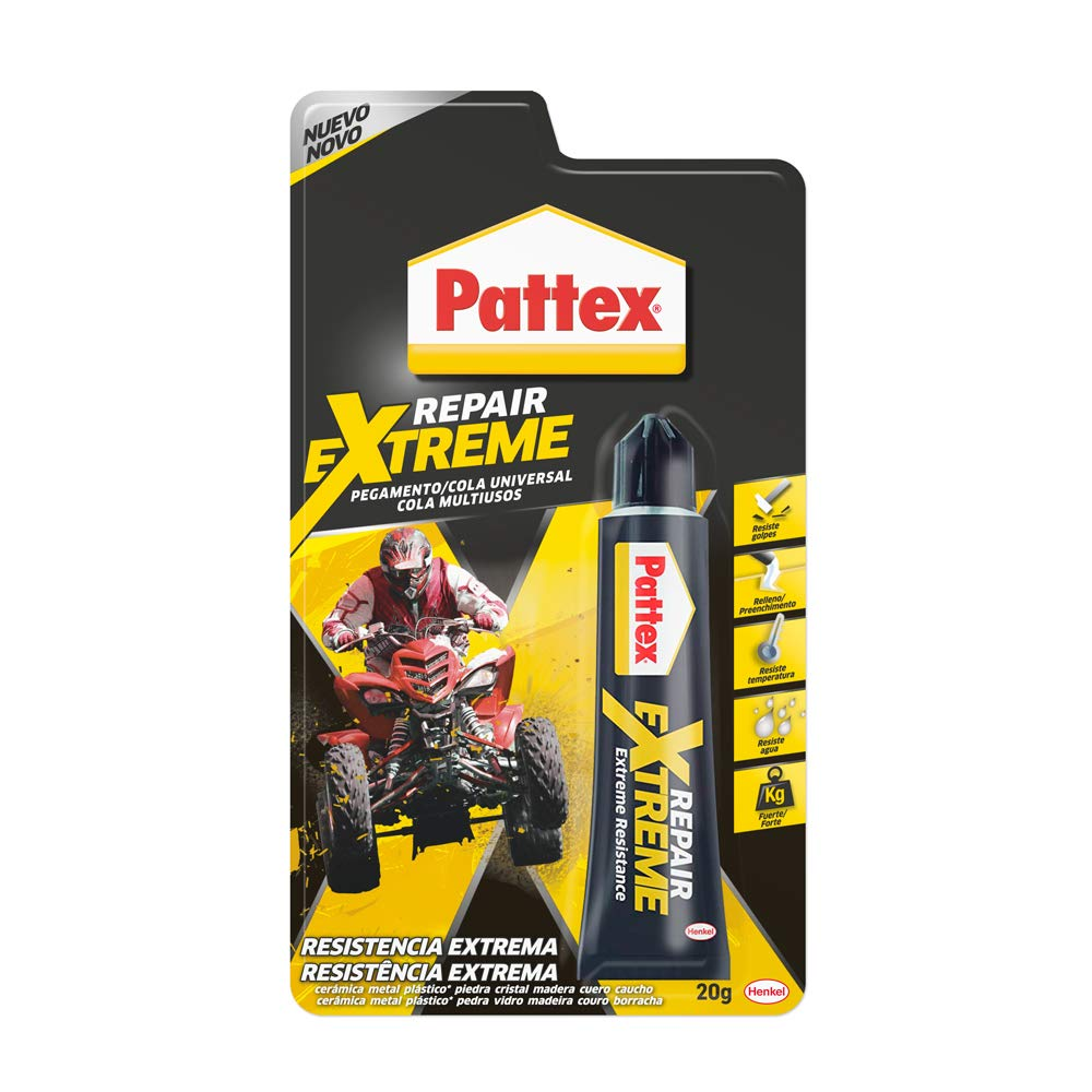Pattex Repair Extreme Pegamento multiusos que no contrae, resistente a las vibraciones, extrafuerte para interiores y exteriores, 1 x 20 g, tubo