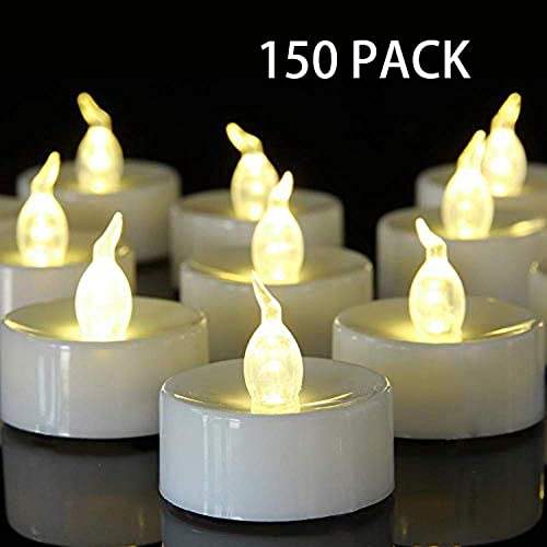 Battery Operated Tea Light Candles 150 Pack Flameless LED Realistic Flickering Candles 100 Hours Electric Fake Candle in Warm White Ideal for Party, Wedding, Birthday, Gifts and Home Decoration
