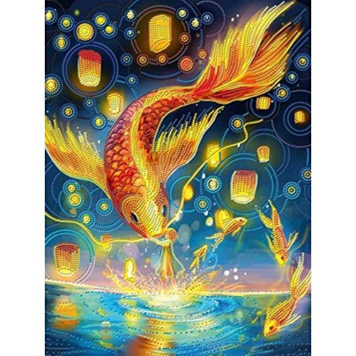 (24x34cm)Diamond Embroidery Sale Full Drill Resin Decor Home Mosaic Painting Gold Koi Fish 5D DIY Diamond Painting Animals