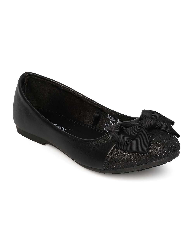 Alrisco Leatherette Glitter Capped Toe Bow Ballerina Flat (Little Girl/Big Girl) EI45 - Black (Size: Little Kid 12)