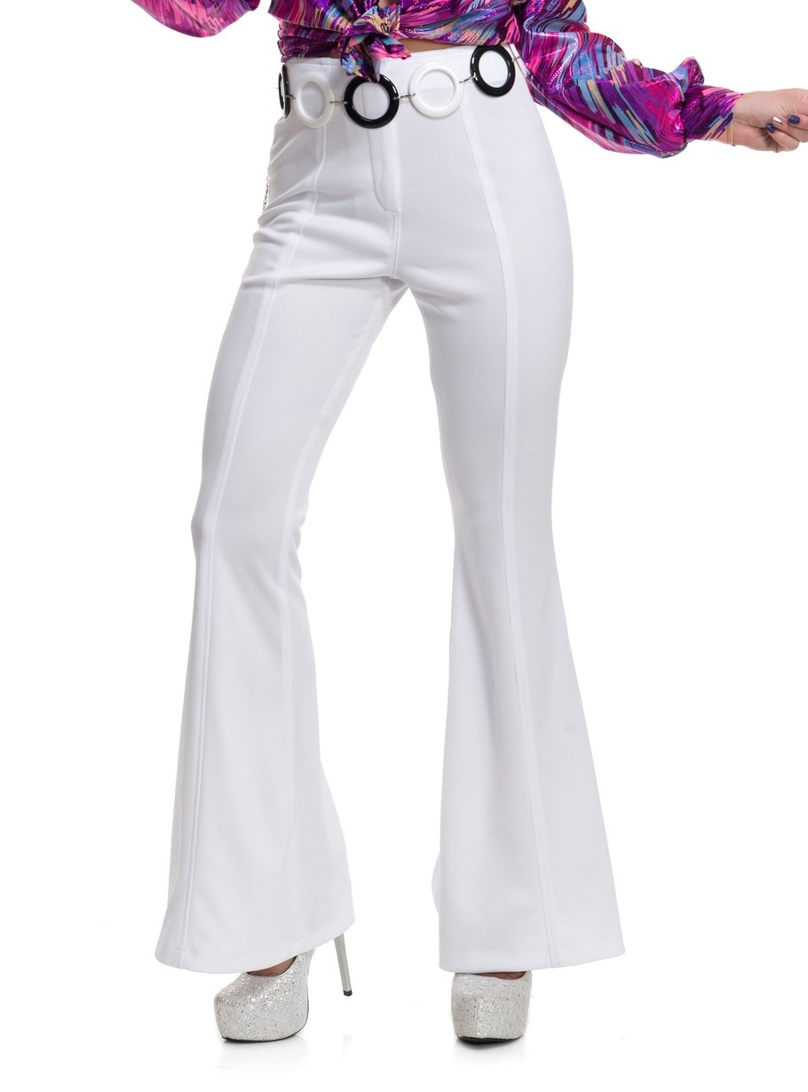 Charades Women's 1970's Disco Pants, White, Medium