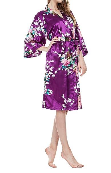 Vestido Kimono Pijama de Seda Novia Kimono de Seda Bata de Vestir túnica lencería Ropa de Dormir de Satén Estampado Pavo Real