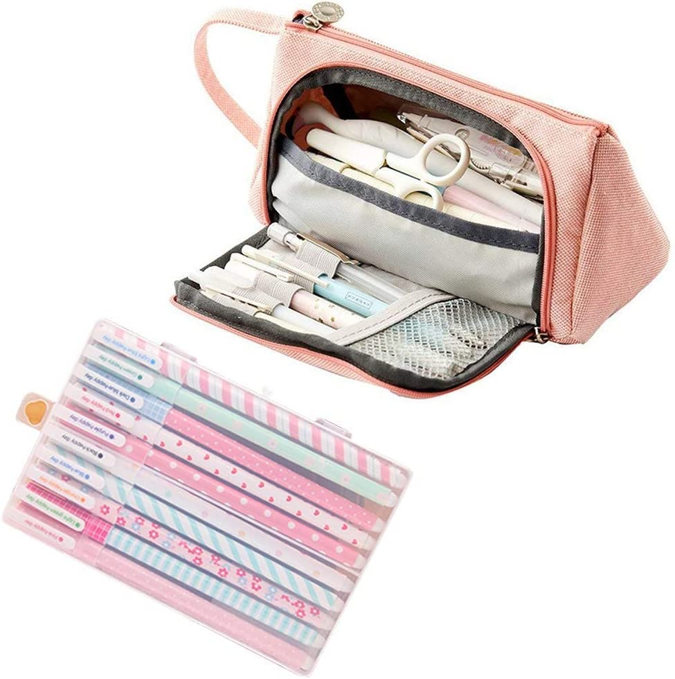 Amycute 11 Set de Papeleria, Estuche de Lapices rosa + 10 pcs boligrafos de colores Regalos Escolares para Niños Útiles escolares