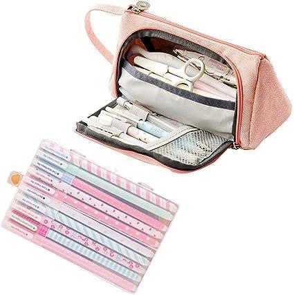 Amycute 11 Set de Papeleria, Estuche de Lapices rosa + 10 pcs boligrafos de colores Regalos Escolares para Niños Útiles escolares: Amazon.es: Oficina y papelería