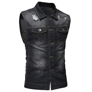 Mens Fit Retro Ripped Denim Vest Sleeveless Trucker Jean Vest Jacket