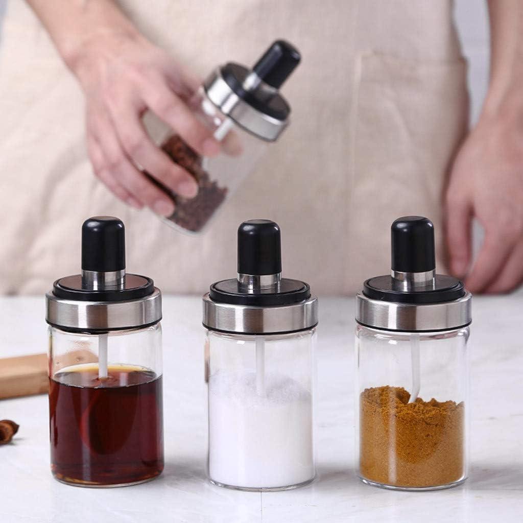 FiedFikt Kitchen Supplies Salero de Cristal con Cuchara y Bote para Especias