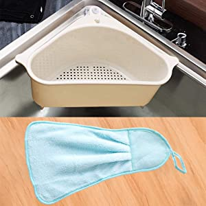 triangular sink drain shelf,sink strainer basket with microfiber cleaning cloth,for kitchen and bathroom (Beige)