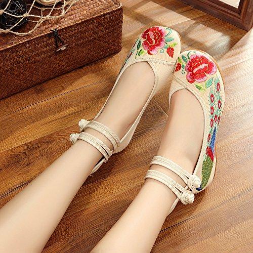 estilo popular de de femenino Peacock bordados gama de Zapatos Bordado Zapatos alta KHSKX verde Zapatos Zapatos Red viejos de Ropa Tailed baile verano Zapatos Pekín de q7w6xOI
