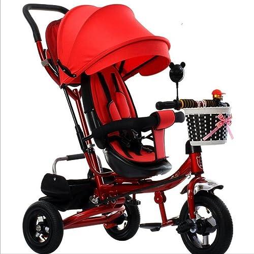 La patrouille de patte de tricycle des enfants 4-en-1, enfants pliables de bicyclette de chariot à roulettes pour le vélo de roue de bébé 3 avec l'auvent anti-UV de mode ( Color : Orange , Size : B