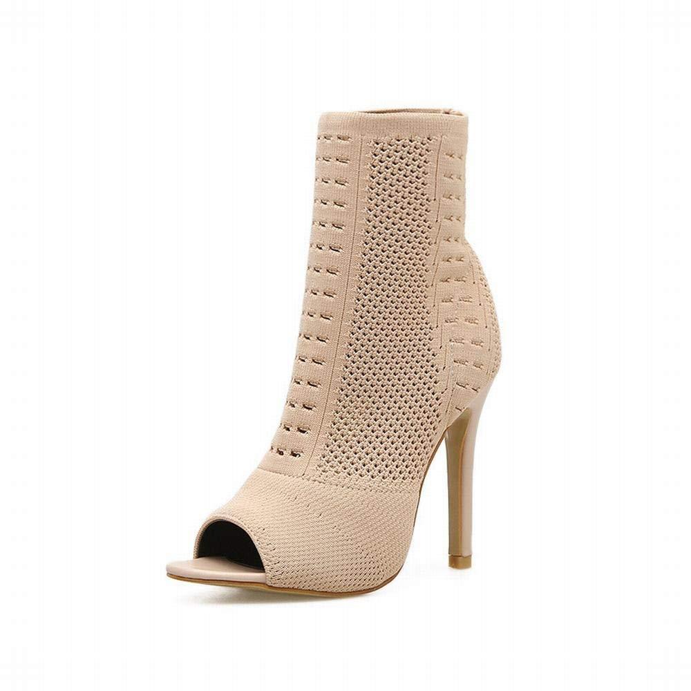 GSAYDNEE Frauen Stricken Schuhe sexy Ausschnitt Fisch Mund elastische Stiefel (Farbe   Apricot Größe   37)