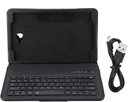 Funda de teclado para Samsung Tab A 10.1 T580, 3 en 1 PU Funda protectora con teclado inalámbrico Bluetooth (negro)