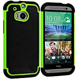 Cell Accessories For Less (TM) Black / Neon Green Hybrid Rugged Hard/Soft Case Cover for HTC One M8 Bundle (Stylus & Micro Cleaning Cloth) - By TheTargetBuys