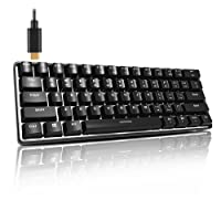 ACGAM Portable Backlighting Gaming Keyboard Blue Switch Heavy Mechanical Keyboard without Numpad US Layout 61keys Anti-Ghosting Programmable USB Keyboard