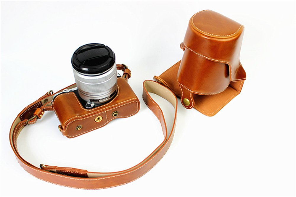 X-A3 Case, BolinUS Handmade PU Leather FullBody Camera Case Bag Cover for Fujifilm Fuji X-A3 XA3 X-A2 X-M1 XM1 XA2 X-A1 XA1 with 16-50mm lens Bottom Opening Version + Neck Strap -Brown