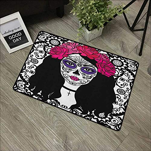 Square Door mat W19 x L31 INCH Sugar Skull,Girl with Sugar Skull Make Up Dia De Los Muertos Traditional Art Print, Black White Pink Easy to Clean, no Deformation, no Fading Non-Slip Door Mat Carpet ()