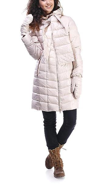 Miss Sun M507 abrigo de plumas para mujer con capucha y guantes (Talla 34 - 42 Beige Beige beige: Amazon.es: Ropa y accesorios