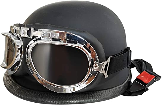 Correa Adjustable para Barbilla KKmoon Casco Moto Abierto,54-60CM Media Cara Casco con Visera Anteojos Casco Universal para Hombre y Mujer(Negro)
