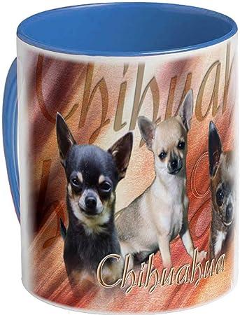 Mug Ceramic Dog Chihuahua Poil Court Blue Amazon Co Uk Kitchen Home
