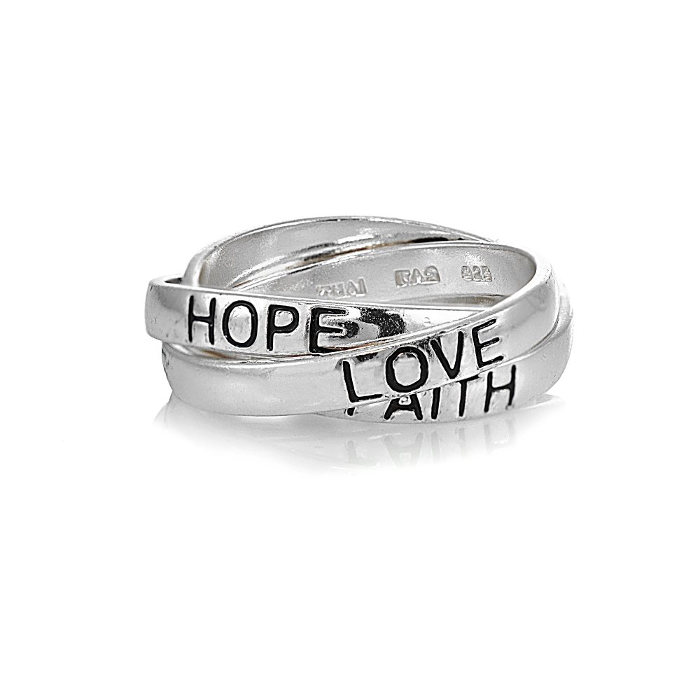 Sterling Silver HOPE FAITH LOVE Inspirational Triple Interlocking Ring, Size 8