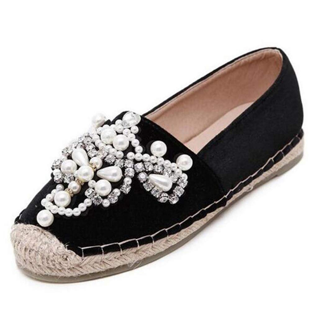 T-JULY Spring Autumn Women Flats Loafer Round Toe Espadrilles Pearl Comfortable Hemp Bottom Slip on Shoes