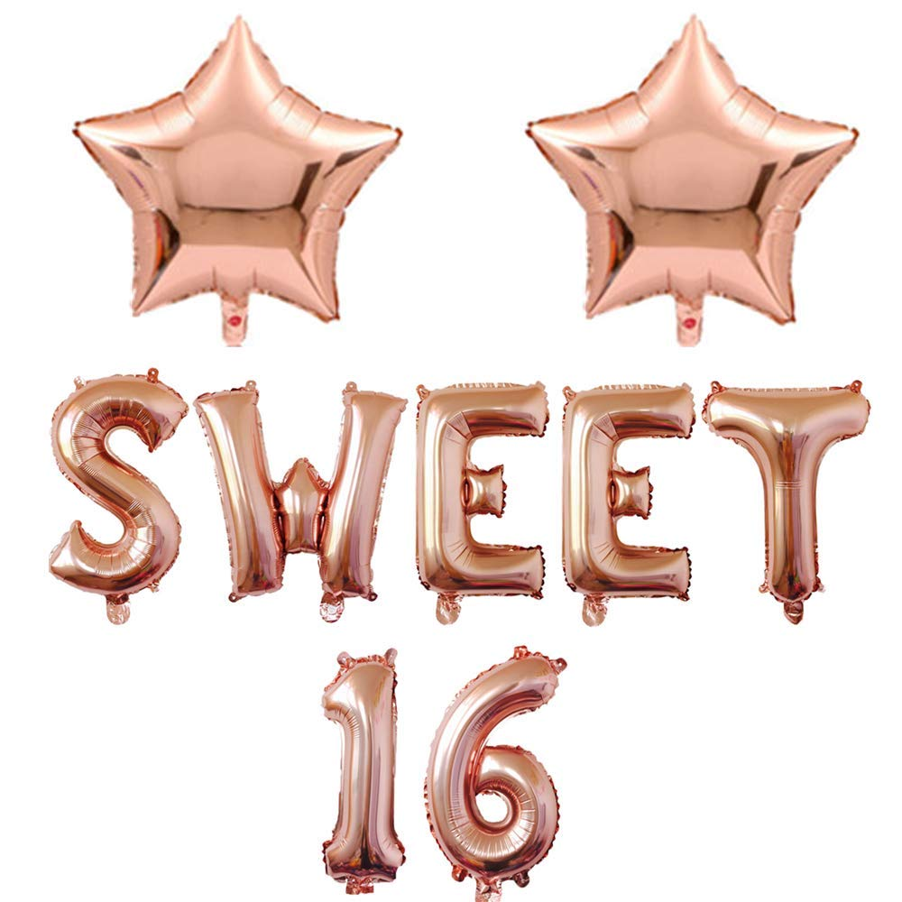 Mannli Rose Gold Sweet 16 Banner Balloons Sixteen 16th Birthday Party Decoration 16 Inch