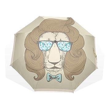 GUKENQ Chic - Paraguas de Viaje Ligero con Gafas de león para Hombre, Mujer y