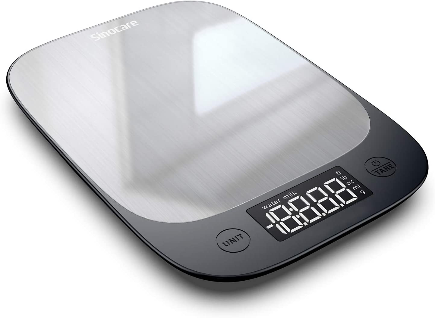 sinocare Multifunction Digital Kitchen Scales, Stainless Steel Cooking Food Scales Digital Weight Grams and OZ Accurate Kitchen Scale with LED Display (Silver)